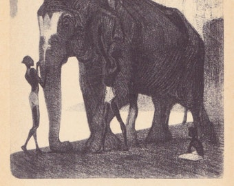 "V. Vatagin ""Dressing Elephant"" Postcard -- 1959"