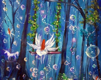 INSTANT DOWNLOAD Fairy In the Swing Digital Print from original painting. Enchanted forest print, Fairy forest print, Poster Print