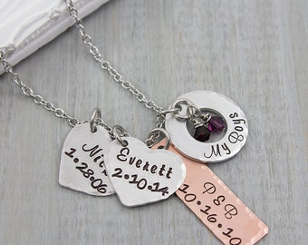 Hand Stamped Mothers Necklace - Personalized Jewelry - Custom Jewelry - Name Necklace