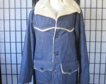 Vintage Denim Deadstock Jean Jacket by Roebucks Blue 44 R 46 Chest Medium Western Wear Trucker Pile Lining New NOS Sherpa Style