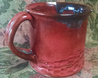 8 oz Red Carved Pottery Mug