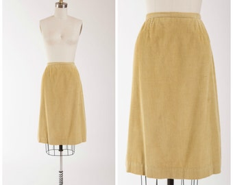 60s Vintage Skirt • Earnest Dedication  • Mustard Yellow Corduroy Vintage 1960s Skirt Size Small