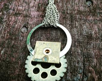 Steampunk Simple Gear Necklace