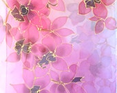 Hand painted Silk Scarf Long, ETSY, Chiffon Scarf Silk, Birthday Gift, Rainbow Orchids Scarf, Silk Scarves Takuyo, 14x72 inches