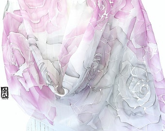 Silk Wedding Scarf, White Bridal Scarf, Shawl Summer Wrap, Summer Kimono Sheer, Handpainted Scarf, Ethereal Pink and Gray Roses, 22x90 in.