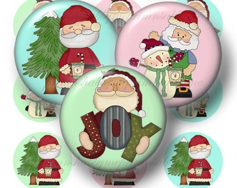 """Santa, Bottle Cap Images, 1 Inch Circle, Christmas, Digital Collage Sheet,  Instant Download, Printable Christmas, 1"""" Round Images, 16-1"""
