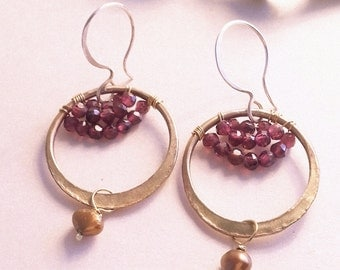 Forged Brass Hoop Garnet Earrings hammered semi-precious
