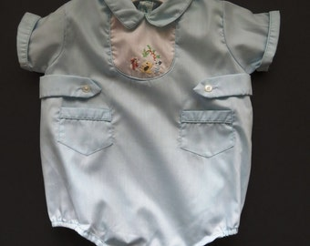 Vintage Baby Boy Romper by Cherub - Size NB to 3 Months - Blue One Piece Bodysuit - Embroidered Animals - Shabby Chic Baby Baby Shower Gift