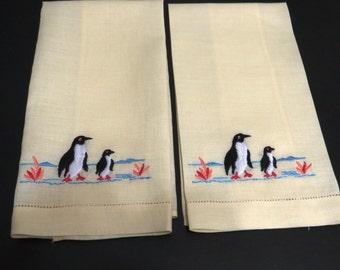 Embroidered Penguins Hand Towels on Lemon Yellow - Set of 2 - Cut Work Hems - Powder Room Bathroom Decor - Vintage Linens - Gift - Animals