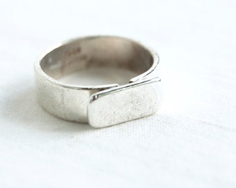 Bar Ring Size 8 .75 Vintage Sterling Silver Mexican Engravable Jewelry Modern Long Band