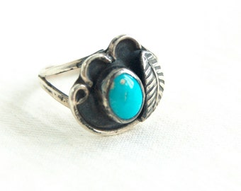Turquoise Ring Size 6 .75 Southwestern Vintage Native American Jewelry Feather Boho Gift for Her