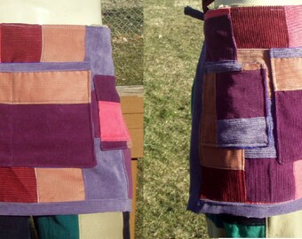Custom Made To Order Corduroy Patchwork apron with pockets