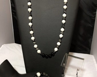 Black Marble Stone Set-Necklace Bracelet Earrings