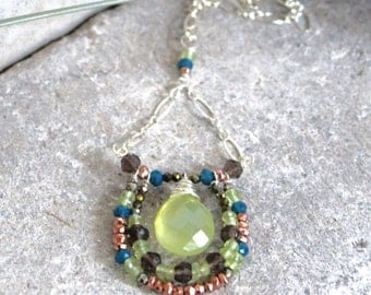 Adjustable Green Prehnite Teardrop, Smoky Topaz, Copper Pyrite, Green Peridot, Teal Blue Chalcedony, Olive Green Pyrite Pendant Necklace