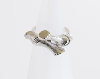 Vintage Silver Bamboo Ring  By Sarah Coventry Size 6 - 7 / Adjustable