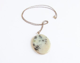 Mossy Agate Vintage Cameo Necklace on a Gold Tone Chain
