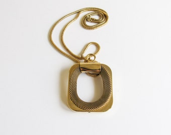 Modernist Mesh Large Rectangle Vintage Gold Tone Necklace on Extra Long Snake Chain
