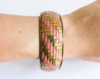 Pink & Gold Woven Vintage Wide Brass Textile Bangle Bracelet
