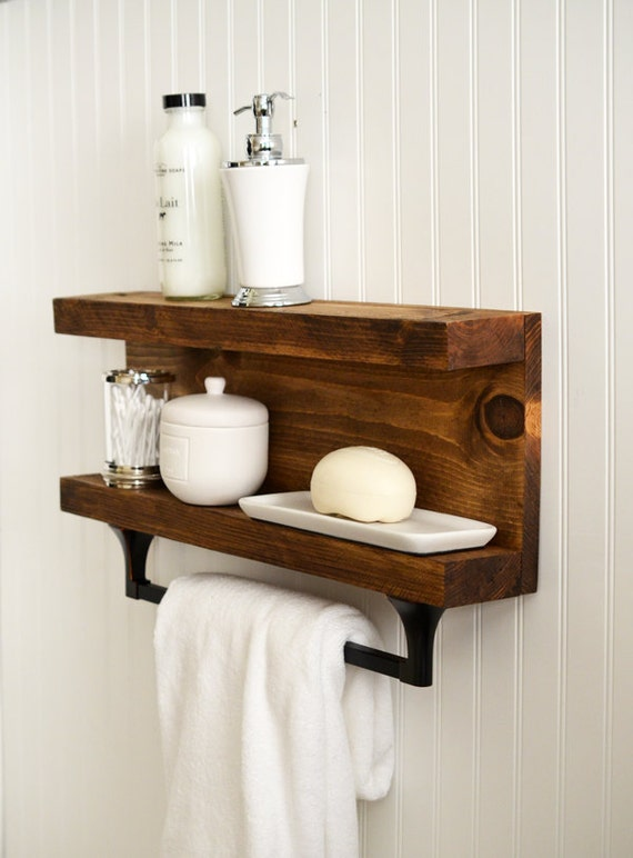 bathroom shelf with towel bar metal hooks modern rustic