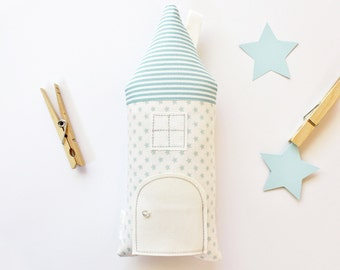 Tooth Fairy Pillow House Cottage, Blue, Stars, Gift for Children, Stuffed Toy, Keepsake, Special Occasion