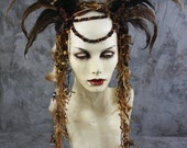 3 day shipping: Male, Female, Unisex- Woodland Elf Fairy Headpiece w feathers Crown, Costume Renaissance Burning Man Tribal Halloween Gypsy