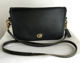 Vintage Coach Pocket Purse in Black Leather, Style 9755, Made in USA