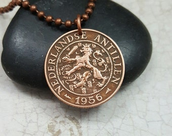 LION NECKLACE. 60th mens necklace. Netherlands Antilles 1956, 1959 copper COIN Necklace. Dutch jewelry. Leo necklace. lion pendant. man gift