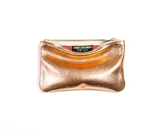 MAE Copper Leather Wallet. Copper Leather Pouch. Metallic Leather Clutch. Rosegold Leather Clutch.