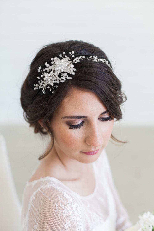 Silver Crystal Bridal Headpiece Wedding Hair Vine Bridal