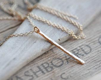 Skinny Bar Necklace, Long Slim Gold Necklace, Modern Minimalist Necklace, 14k Gold Filled Necklace  Hammered Gold Necklace
