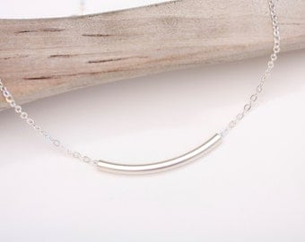 Sterling bar Necklace, Curved bar Necklace, Layering Necklace, Silver Jewelry, Simple Everyday Necklace, minimalist jewelry, curved tube