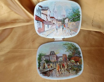 Mid Century Tin Trivets Pair with STEPHAN MARM Art, wall decor *eb