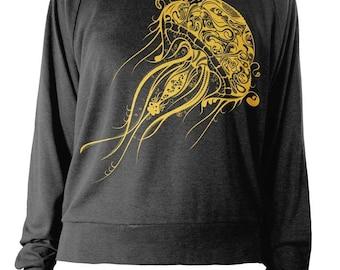 Womens Longsleeve Lightweight Pullover - Jellyfish Sweater - Nautical Sweatshirt - American Apparel Raglan
