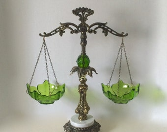 Scale of Justice Balancing Scale Rick Bar Sales Brass Marble Green Glass Lotus Flower Bowls Ornate Scale