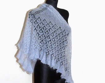 Blue Shawl, Lace Shawl, Knit Sawl, Blue Lace Shawl, Triangle Shawl, Triangle Knit Shawl