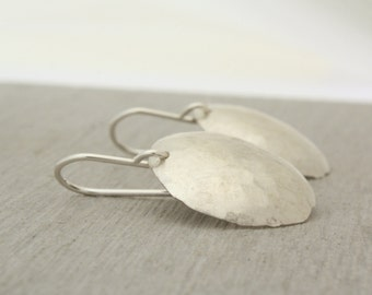 Sterling Domed and Hammered Earrings, Large Sterling Silver Earrings handmade and textured in Sydney from recycled silver : SciDlHDvx