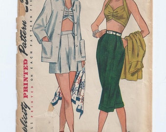 Vintage 1950s Jacket, Bra, Shorts, & Pedal Pushers Sewing Pattern Bust 32 Simplicity 3250 UNCUT