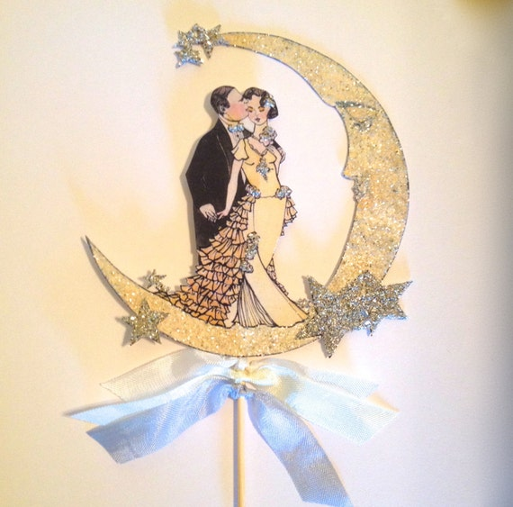 art deco wedding cake topper wedding cake topper great gatsby deco and groom 10838