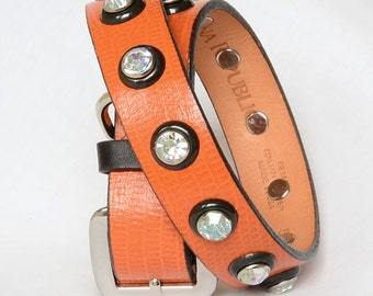 Pumpkin Orange Leather Dog Collar, Recycled Leather Dog Collar, Orange and Black Leather Dog Collar. Fits 17 -22 inches