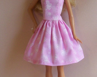Handmade Barbie Doll Clothes- Pink Print with White Butterflies Barbie Dress