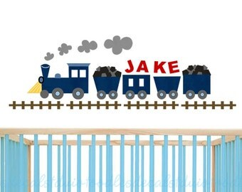 Train Wall Decal for boys room, Train Fabric Decal, Reusable Train Decal, Transportation Decor, Kids Name decal, Personalized Train Decal