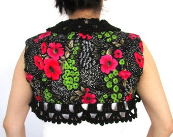Rainbow Cropped vest with Crochet collar,Bolero jacket,Cotton Bolero Jacket,Short Jacket,Short Vest,Women's Jacket,Floral Jacket, Size S