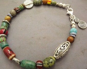 Bohemian Antiqued Silver Gemstone Bracelet 8 Inches