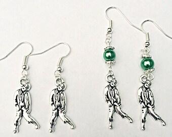 Zombie Dangly Earrings - Silver Zombie Earrings - Living Dead Earrings - Walking Dead Earrings - Zombie Jewelry - Gift For Her