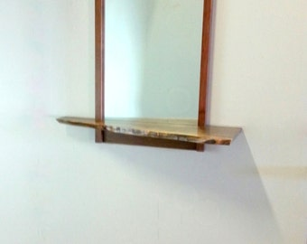 Walnut Contemporary Modern and Mid Century Style Wall Hanging Entry Mirror with Live Edge Shelf