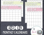2016 Monthly Calendars {Chevron Edition} - Printable PDF / PPT