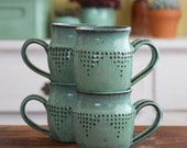 Ceramic Coffee Cup Mug - Set of 4 - Modern Geometric Design - Aqua Mist - Hand Thrown - MADE TO ORDER
