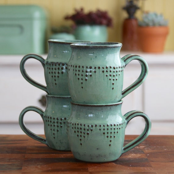 Ceramic Coffee Cup Mug - Set of 4 - Modern Geometric Design - Aqua Mist - Hand Thrown - MADE TO ORDER