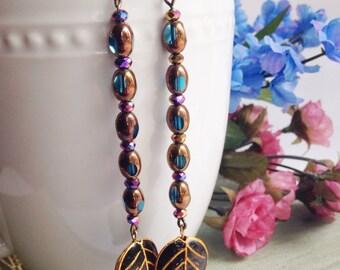 Long black leaf earrings, bead earrings, floral jewelry, nature jewelry, vintage beads