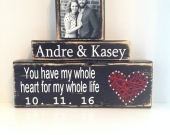 Personalized Wedding gift for couple | Bridal Shower Gift | Rustic Wedding Decor | Engagement Gift | Anniversary gift| Nail and thread wood